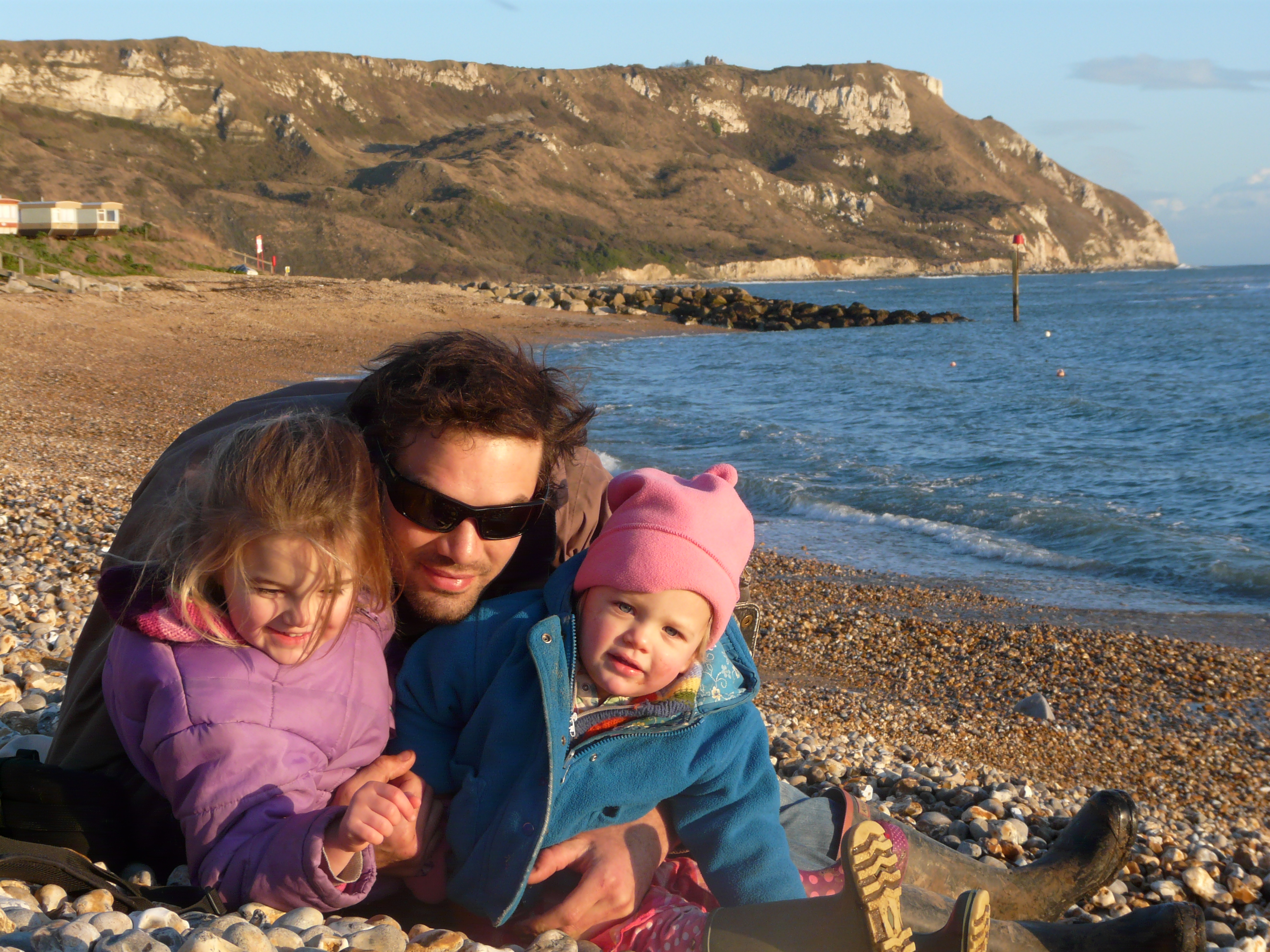 Jimi and the girls at Ringstead Bay
