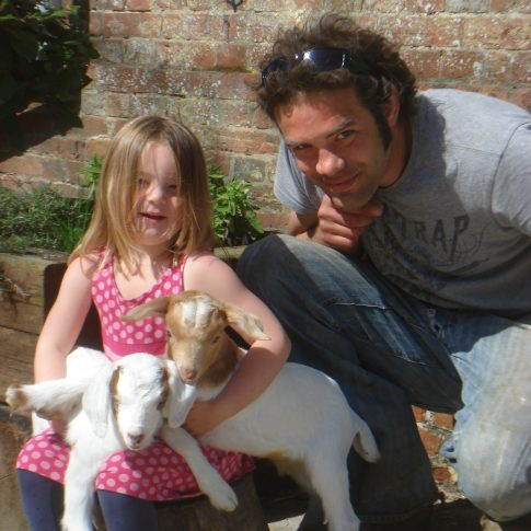 Jimi, Wren and kid goats at Launceston Farm